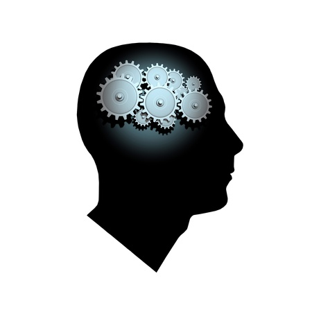 cognition: 3D Gears inside the profile of a mans head.