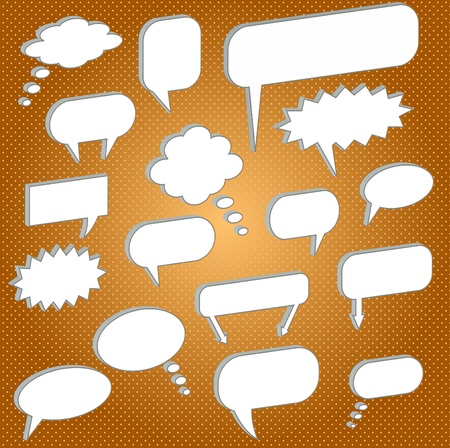 Image of various chat bubbles on a colorful orange background. Stock Photo - 8519876