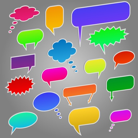 Image of colorful chat bubbles isolated on a gray background. Stock Photo - 8519861