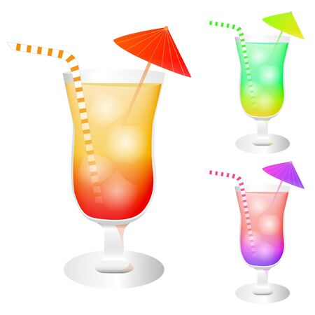 Image of colorful cocktail drinks isolated on a white background.