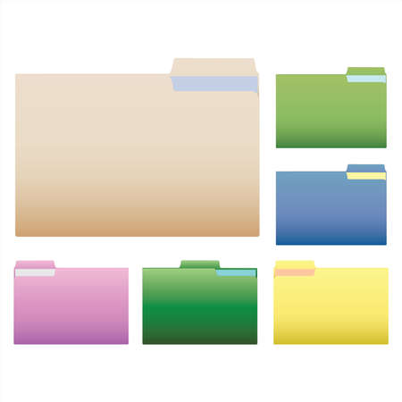 Image of various colorful folders isolated on a white background.