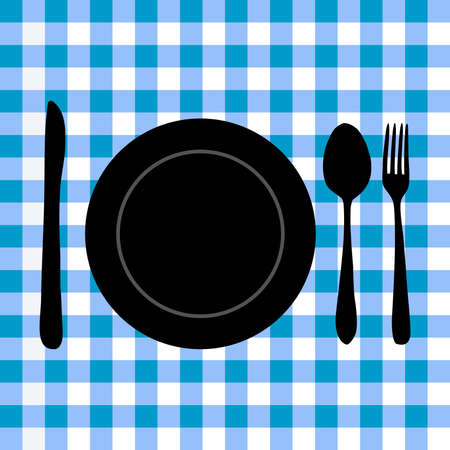 checker plate: Image of a plate and utensil silhouette on a blue checker background.