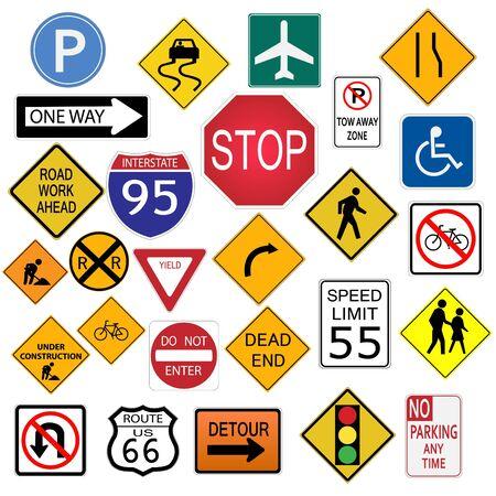 多くの道路標識が、白い背景で隔離のイメージ。