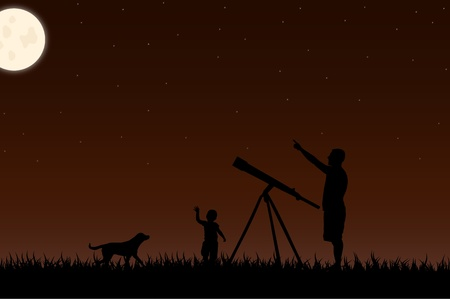 stargazing: Image of a twilight scene with silhouettes and a telescope against a night sky background with moon. Stock Photo