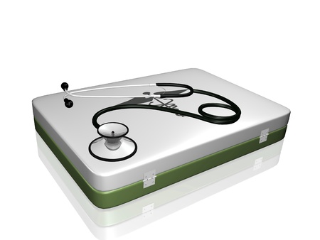Image of a medical stethoscope and medical kit isolated on a white background. Stock Photo - 8519863