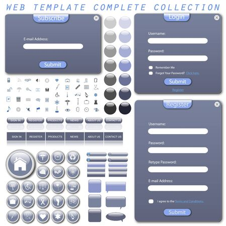 web icons: Complete web template with forms, bars, buttons, icons and chat bubbles.