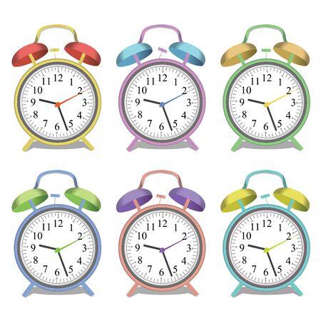 様々 なカラフルな目覚まし時計、白い背景で隔離のイメージ。