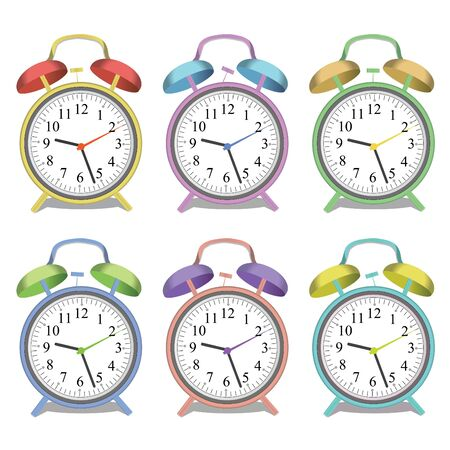 oclock: Image of various colorful alarm clocks isolated on a white background. Illustration