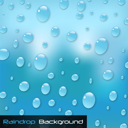 Afbeelding van een kleurrijke blauwe regendruppel achtergrond.
