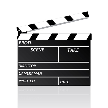 Image of a movie clipboard isolated on a white background. Vector