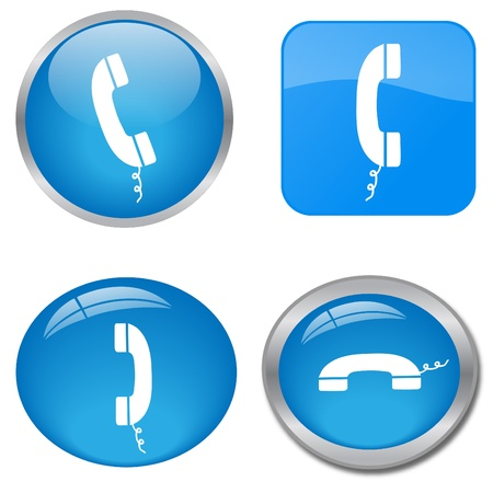 приемник: Image of various colorful blue phone web icons isolated on a white background.