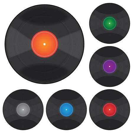 Image of various colorful records isolated on a white background.