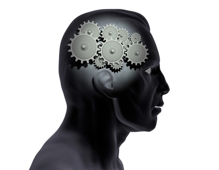 Image of gears inside of a mans head. photo