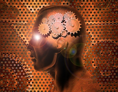 Image of gears inside of a man's head with a rusty metal background.