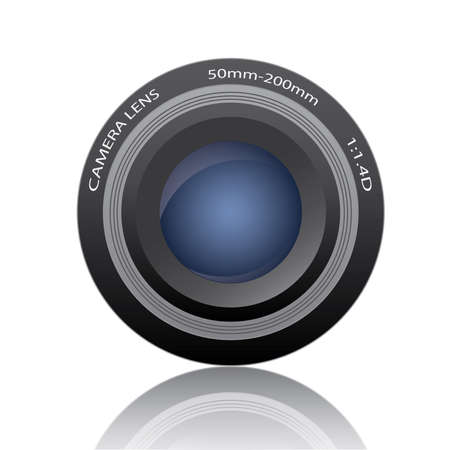 Image of a camera lens isolated on a white background.