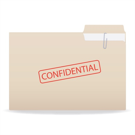 Image of a stamp with a Confidential stamp isolated on a white background. photo