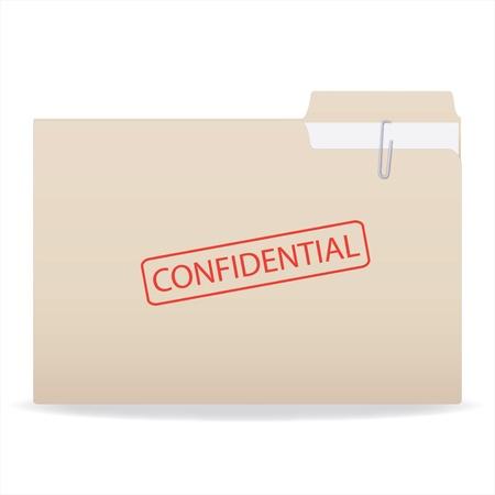 carpetas: Imagen de un sello con un sello confidencial aislado en un fondo blanco.