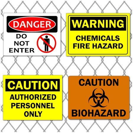 hazard sign: Image of various danger and caution signs on a chain link fence background.
