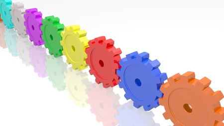 Image of various colorful gears isolated on a white background.