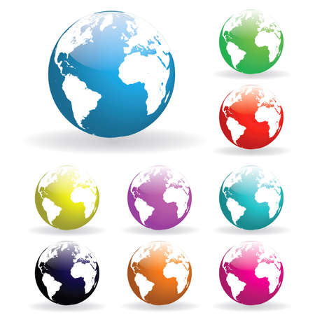 Image of various colorful earth globes isolated on a white background. Stock Photo - 8856038
