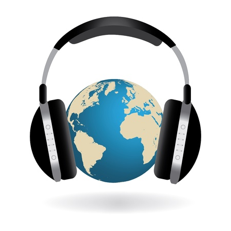 Concept image of the earth with headphones isolated on a white background.
