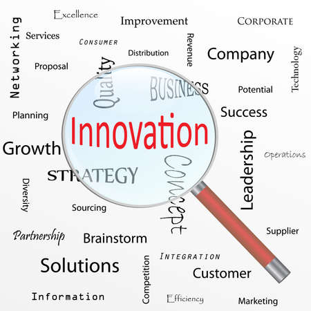 Image of a magnifying glass focusing on the word Innovation isolated on a white background. photo