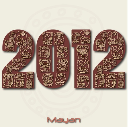 mayan prophecy: Image of the year 2012 with Mayan ruins isolated on a white background. Stock Photo