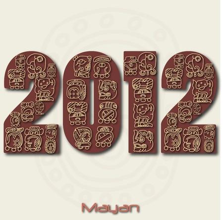 Imagen del a�o 2012 con ruinas mayas aislado en un fondo blanco.
