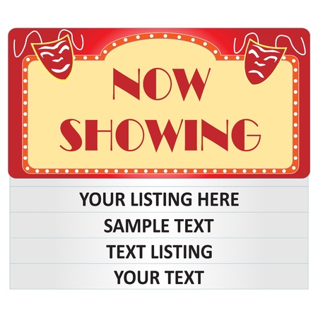 listing: Image of a cinema Now Showing sign isolated on a white background with sample text. Stock Photo