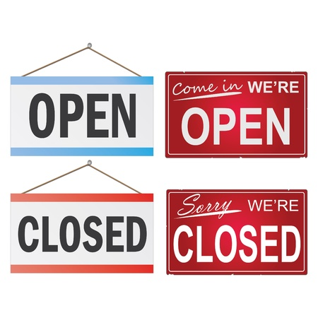 open windows: Image of various open and closed business signs isolated on a white background.