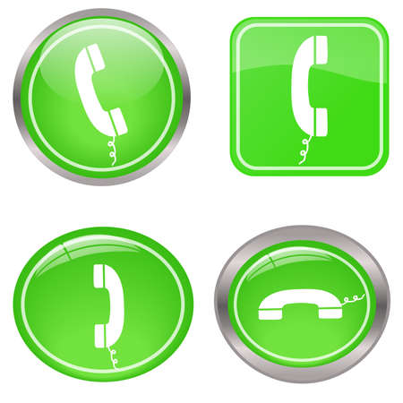 receiver: Image of various colorful green phone buttons isolated on a white background.