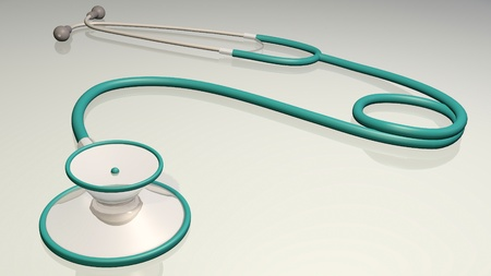 Image of a medical stethoscope isolated on a gray background. photo