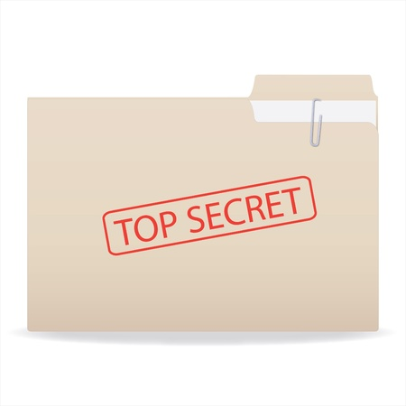 Image of a folder with a Top Secret stamp isolated on a white background. Stock Photo - 8855981