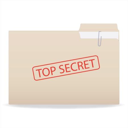 Imagen de una carpeta con un sello de secreto superior aislado en un fondo blanco. Foto de archivo