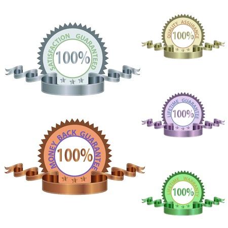 Immagini di varie medaglie di garanzia di qualità e durata e ribons isolato su uno sfondo bianco. Archivio Fotografico - 9163549