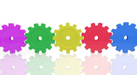 gearings: Image of colorful gears isolated on a white background. Stock Photo