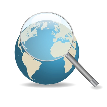 zoom earth: Image of a magnifying glass focusing on the earth isolated on a white background.