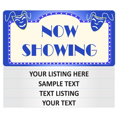 theatre masks: Image of a colorful, blue cinema sign with editable text.