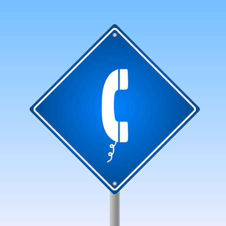 Image of a phone icon on a road sign with a blue sky background. Stock Photo - 9163531