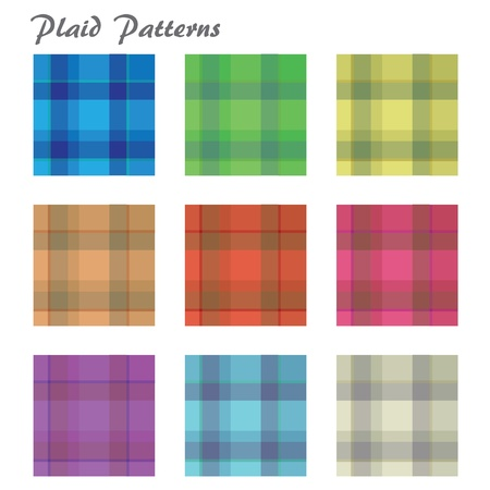 checker: Image of various colorful plaid patterns isolated on a white background.