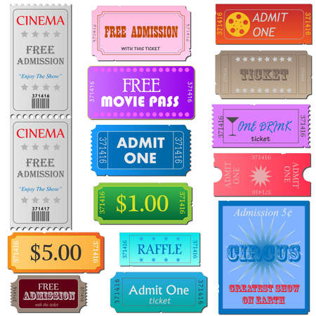 Image of various colorful cinema and admission tickets isolated on a white background. photo