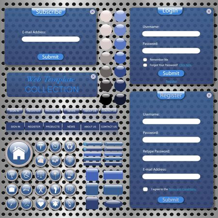 Image of a colorful, blue web template with forms, bars, buttons, icons and chat bubbles on a metallic background. photo