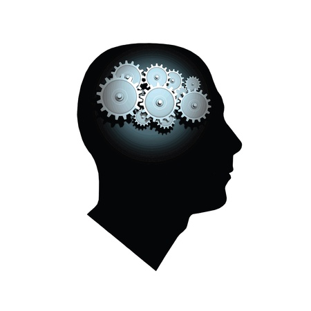 Image of gears inside of a mans head isolated on a white background.