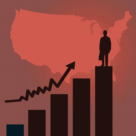 Image of a red business scene background with United States map, business man silhouette. Vector