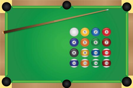 Image of a pool table, cue stick and balls. Иллюстрация