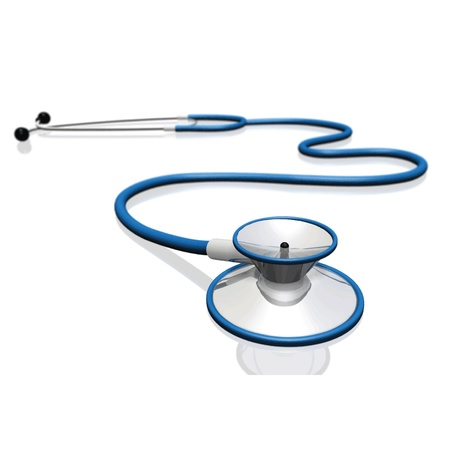 doc: Image of a stethoscope isolated on a white background.