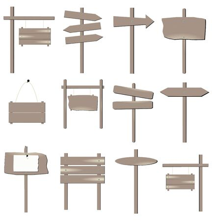 sign post: Image of various grayish brown wooden signs isolated on a white background. Illustration