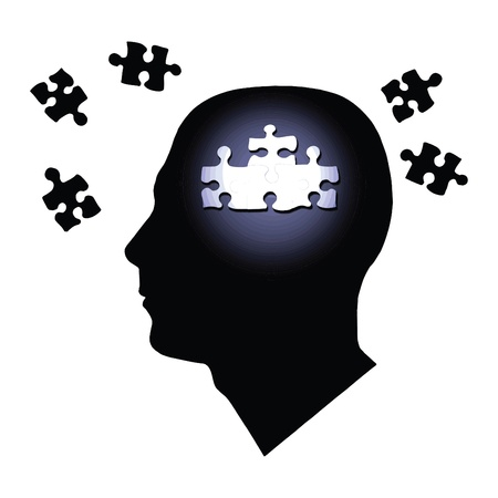 Image of various puzzle pieces inside of a mans head silhouette isolated on a white background. Illustration