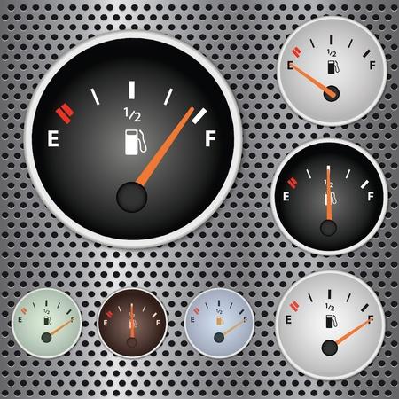 Afbeelding van verschillende gas meters op een metalen achtergrond. Stock Illustratie