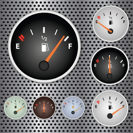Image of various gas gauges on a metallic background. Vector
